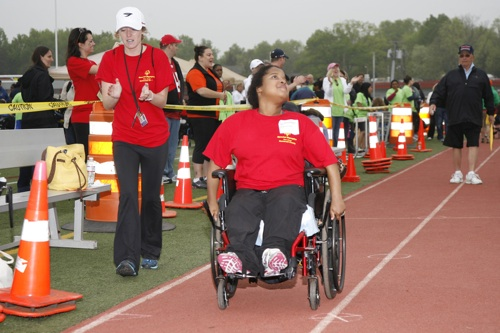 Matheny adult patient Camille Van Valen competing in one of the track events ...
