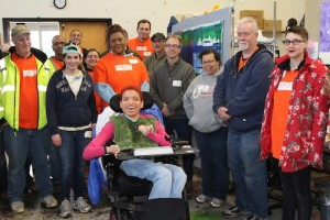 The Home Depot team visited the Robert Schonhorn Arts Center and met adult day patient and Arts Access artist Natalia Manning.